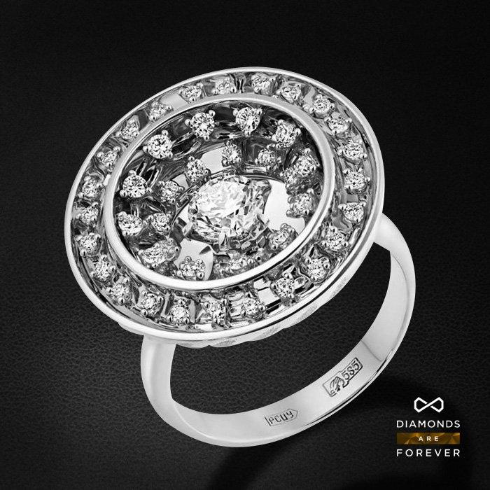 Кольцо с бриллиантами из белого золота 585 пробыКольца<br>Кольцо с бриллиантами из белого золота 585 пробы. Характеристики вставок: 49 бриллиант 1,041. Средний вес изделия: 13.48 гр.<br>