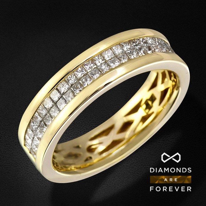 Кольцо с бриллиантами из желтого золота 585 пробыЮвелирные украшения<br>Кольцо с бриллиантами из желтого золота 585 пробы. Характеристики вставок: 50Бр Принц. 0.553/5 А . Средний вес: 4,33 гр.<br>