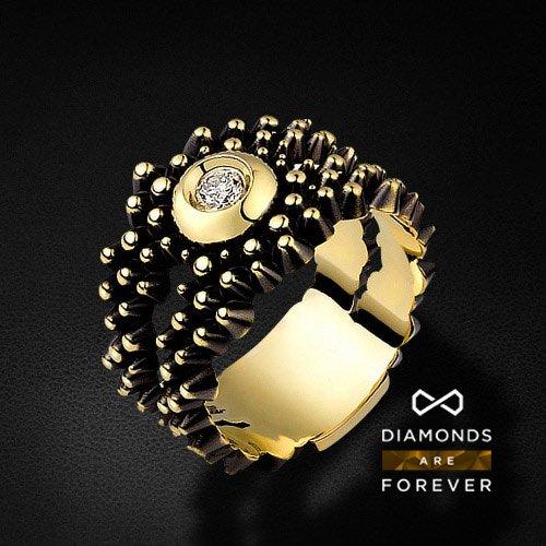 Кольцо из желтого золота 585 пробы с 1 бриллиантомКольца<br>Кольцо из желтого золота 585 пробы с 1 бриллиантом. Характеристики вставок: 1 бриллиант 0.108 карат. Средний вес: 9,21 гр.<br>