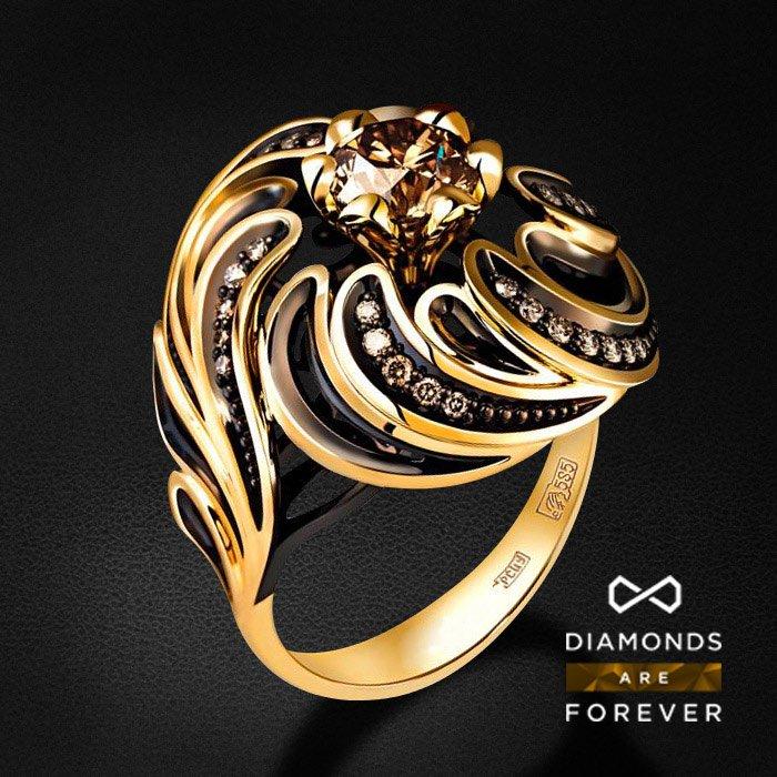 Кольцо с бриллиантами в желтом золотеКольца с бриллиантами<br>Роскошное кольцо с бриллиантами в желтом золоте 585 пробы. Характеристики: 35 бриллиант 1.267. Средний вес: 10.69 гр.<br>
