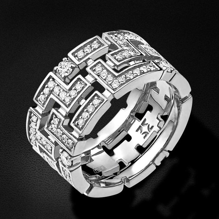 Кольцо из коллекции ARIADNA с бриллиантами из белого золота 750 пробыКольца<br>Кольцо с бриллиантами из белого золота 750 пробы. Характеристики вставок: бриллиант кр-57 3/6 128шт.,0.93ct. Средний вес изделия: 5,82 гр.<br>