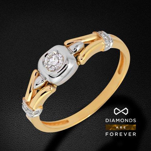 Кольцо с бриллиантами из комбинированного золота 585 пробыКольца<br>Кольцо с бриллиантами из комбинированного золота 585 пробы. Характеристики вставок: бриллиант кр57 3/5-1-0.16ct; 4/5-8-0.06ct;. Средний вес изделия: 3.33 гр.<br>