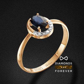 Кольцо с сапфиром, бриллиантами из красного золота 585 пробыКольца<br>Кольцо с сапфиром, бриллиантами из красного золота 585 пробы. Характеристики вставок: 1 сапфир овал 6*4 2/2 0.63ct., 6 бриллиант кр 57 400-200 4/5а 1.0-1.05 0.033ct., 1 бриллиант кр 57 200-120 4/5а 1.15-1.2 0.008ct.. Средний вес изделия: 1.56 гр.<br>
