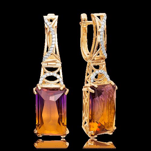 Купить Серьги с аметрином, бриллиантами из красного золота 585 пробы