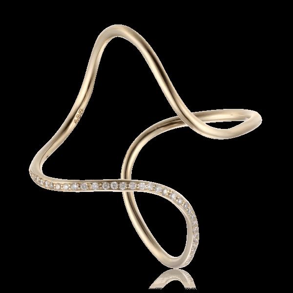 Купить Кольцо с бриллиантами из желтого золота 585 пробы