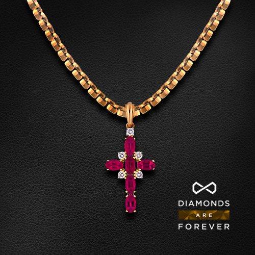 Крест с рубином, бриллиантами из красного золота 585 пробыКулоны<br>Крест с рубином, бриллиантами из красного золота 585 пробы. Характеристики вставок: бриллиант кр57 3/5-5-0.17ct; рубин 2/2-6-1.5ct;. Средний вес изделия: 1.82 гр.<br>