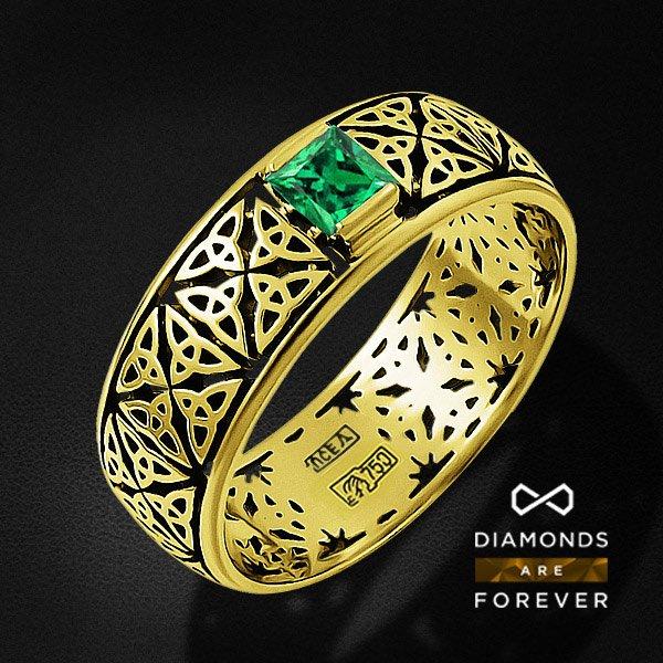 Мужское кольцо с изумрудом из желтого золота 750 пробыПерстни<br>Мужское кольцо с изумрудом из желтого золота 750 пробы. Характеристики вставок: 1 изумруд природный 0,23. Средний вес изделия: 4.62 гр.<br>