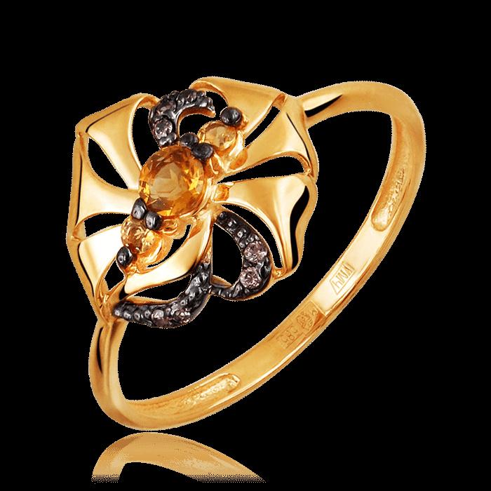 Купить Кольцо с цитрином, фианитами из красного золота 585 пробы