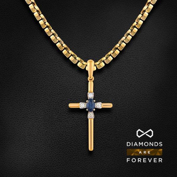 Купить Крест с сапфиром, бриллиантами из красного золота 585 пробы