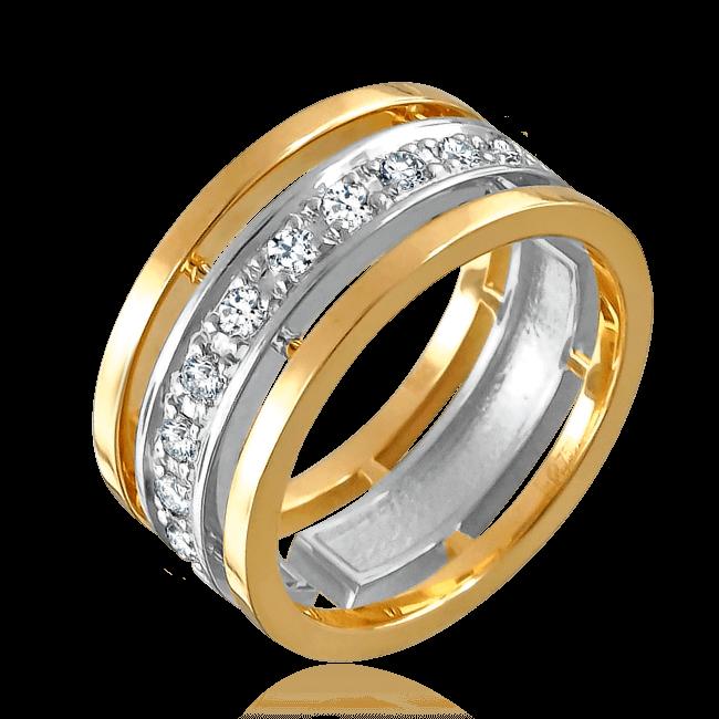 Обручальное кольцо с бриллиантами из комбинированного золота 585 пробы  - купить со скидкой