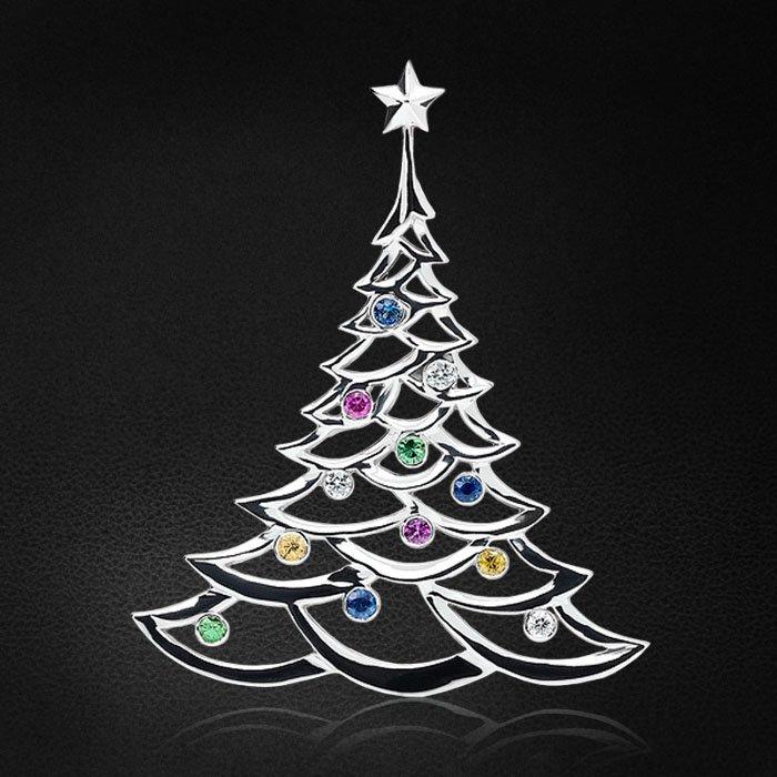 Кулон в форме ёлки с цветными сапфирами, бриллиантами, тсаворитом из белого золота 585 пробыКулоны<br>Легкая, как настроение праздника, подвеска в форме ёлочки с драгоценными шарами. Истинно новогоднее украшение. Характеристики вставок: 1бриллианткр570,015ct3/4, 2бриллианткр570,047ct3/4, 2тсаворит0,054ct, 6сапфир цв.0,157ct. Средний вес: ...<br>