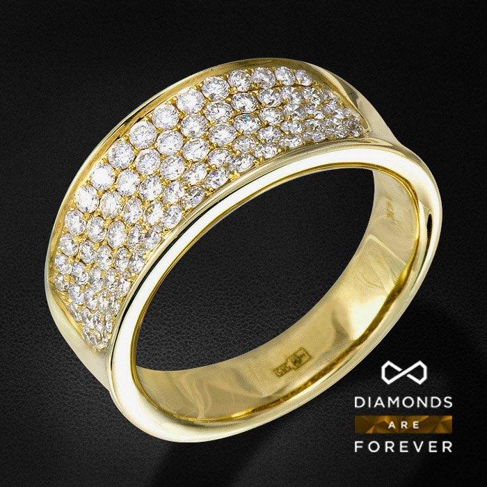 Кольцо россыпь с бриллиантами из желтого золота 750 пробыЮвелирные украшения<br>Кольцо россыпь с бриллиантами из желтого золота 750 пробы. Характеристики вставок: 79Бр Кр-57 1.173/5 А. Средний вес: 7,21 гр.<br>