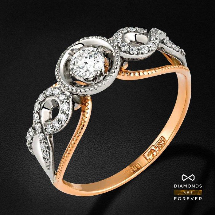 Кольцо с бриллиантами из красного и белого золота 585 пробыКольца<br>Кольцо с бриллиантами из красного и белого золота 585 пробы. Характеристики вставок: 33 бриллиант 0,295. Средний вес изделия: 2.78 гр.<br>