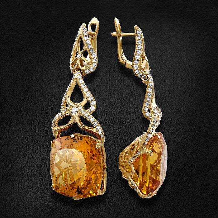 Серьги с бриллиантами, цитрином из желтого золота 750 пробыСерьги<br>Серьги с бриллиантами, цитрином из желтого золота 750 пробы. Характеристики вставок: 6 бриллиант кр57 - 0,22 3/4а, 20 бриллиант кр57 - 0,095 3/4а, 94 бриллиант кр57 - 1,079 3/5а, 44 бриллиант кр57 - 0,299 3/5а, 2 цитрин - 51,73. Средний вес изделия: 29,86...<br>