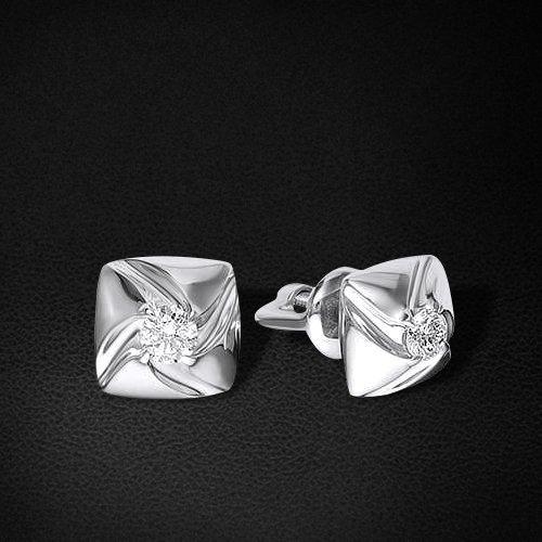Пусеты с бриллиантами из белого золота 585 пробы из коллекции НеоклассикаСерьги<br>Пусеты с бриллиантами из белого золота 585 пробы. Характеристики вставок: бриллиант 2 0.12 4/5 кр57. Средний вес изделия: 1,61 гр.<br>