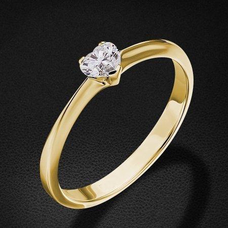 Кольцо с 1 бриллиантом сердце из желтого золота 585 пробыКольца<br>Кольцо с бриллиантами из желтого золота 585 пробы. Характеристики вставок: 1 бриллиант сердце - 0,3 6/6б. Средний вес изделия: 2,07 гр.<br>