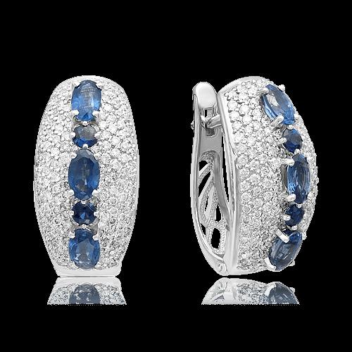Серьги с сапфирами, бриллиантами из белого золота 585 пробы (арт. 49448) 9351571b595