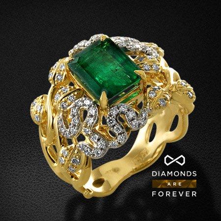 Кольцо с бриллиантами, изумрудом из желтого золота 750 пробыКольца с цветными камнями<br>Кольцо с бриллиантами, изумрудом из желтого золота 750 пробы. Характеристики вставок: 84 бриллиант кр57 0,465; 1 изумруд природный 2,30. Средний вес изделия: 10.72 гр.<br>