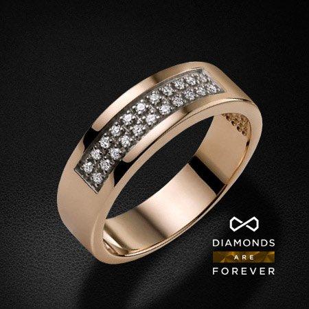 Купить Обручальное кольцо с бриллиантами из комбинированного золота 585 пробы