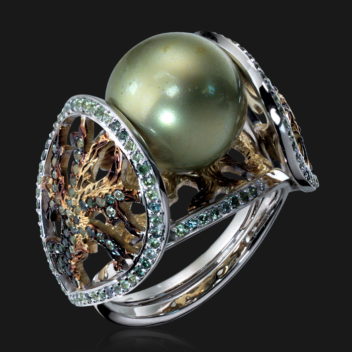 Купить Кольцо с жемчугом и сапфирами из комбинированного золота 585 пробы