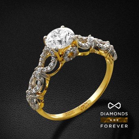 Кольцо с бриллиантами из желтого золота 750 пробыКольца с бриллиантами<br>Кольцо с бриллиантами из желтого золота 750 пробы. Характеристики вставок: 1 бриллиант кр57 1.00; 72 бриллиант кр57 0.37. Средний вес изделия: 3.34 гр.<br>