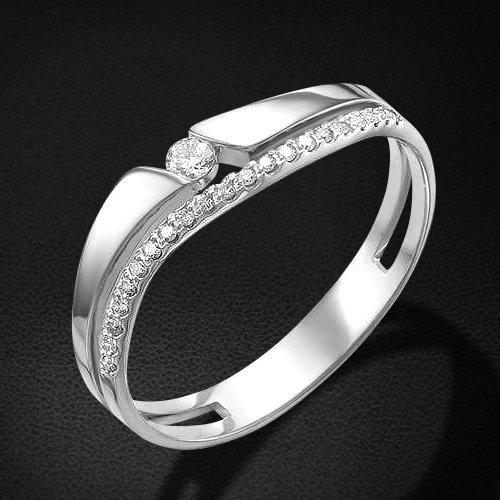 Кольцо с бриллиантами из белого золота 585 пробы из коллекции TrendyКольца<br>Кольцо с бриллиантами из белого золота 585 пробы. Характеристики вставок: бриллиант 1 0.045 4/5 кр57, бриллиант 21 0.068 4/5 кр57. Средний вес изделия: 1,55 гр.<br>