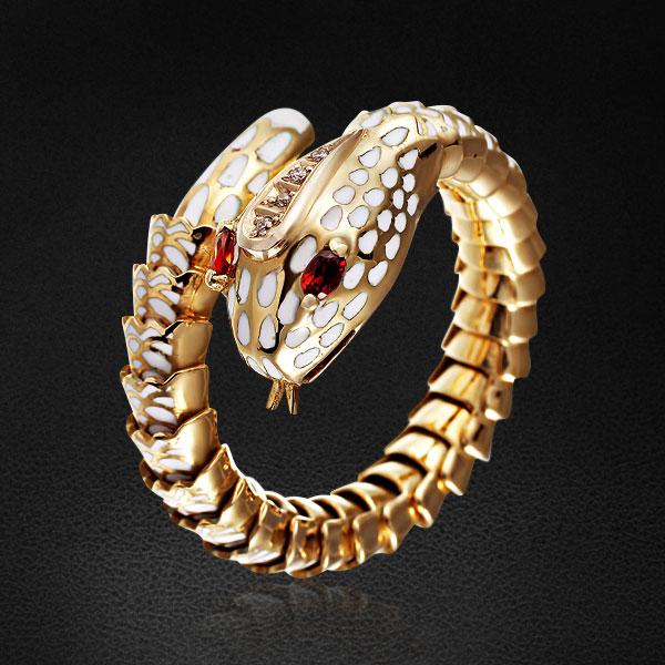 Кольцо Змея с бриллиантами, гранатами и эмалью из желтого золота 585 пробыКольца<br>Кольцо из золота 585 пробы с бриллиантами, гранатами и эмалью. Характеристики вставок: бриллиант - 4шт. вес 0.02 карат, гранат - 2шт. вес 0.15 карат, эмаль. Средний вес: 14,24 гр.<br>