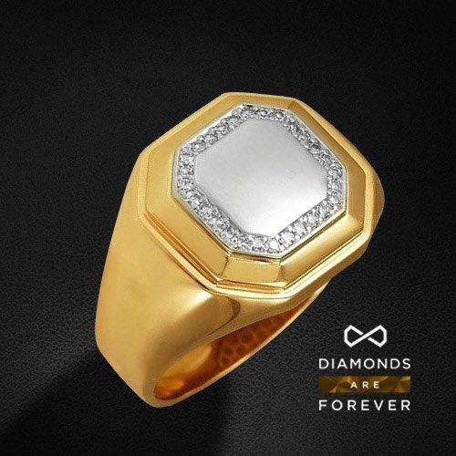 Мужское кольцо с бриллиантами из комбинированного золота 585 пробыДля мужчин<br>Мужское кольцо с бриллиантами из комбинированного золота 585 пробы. Характеристики вставок: бриллиант 57кр 28-0.22ct 4/5а. Средний вес изделия: 9,33 гр.<br>