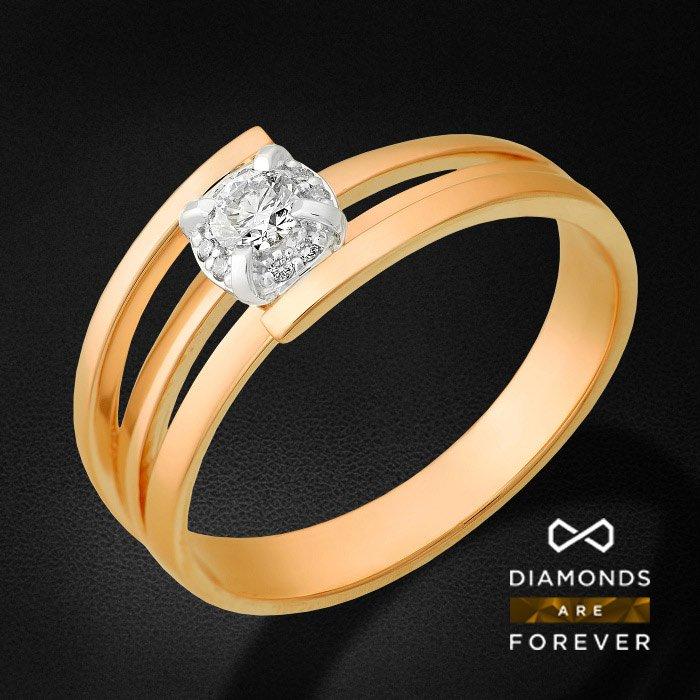 Кольцо с бриллиантами из красного золота 585 пробыКольца<br>Кольцо с бриллиантами из красного золота 585 пробы. Характеристики вставок: бриллиант 57кр 1-0.110ct 5/5а, бриллиант 57кр 8-0.017ct 5/5а. Средний вес изделия: 3.37 гр.<br>