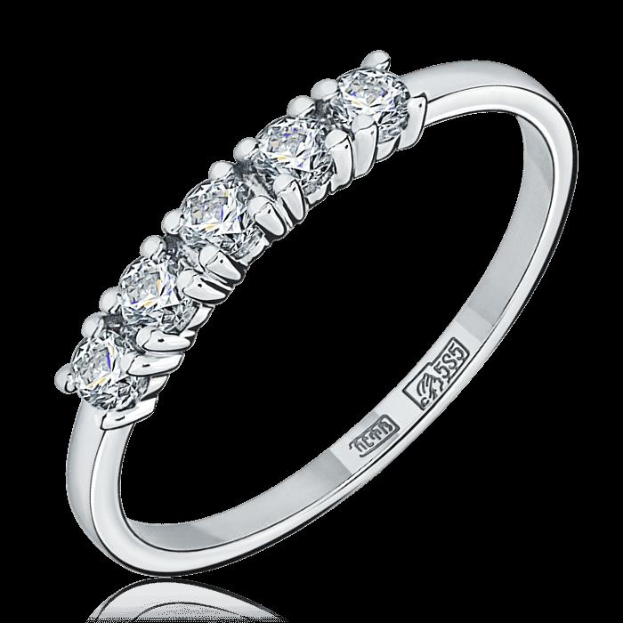Купить Кольцо дорожка с 5 бриллиантами из белого золота 585 пробы