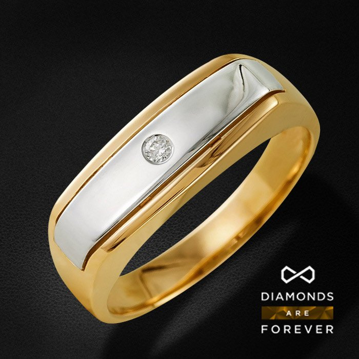 Мужское кольцо с бриллиантами из комбинированного золота 585 пробыДля мужчин<br>Мужское кольцо с бриллиантами из комбинированного золота 585 пробы. Характеристики вставок: бриллиант 57кр 1-0.033ct 4/4а. Средний вес изделия: 5,29 гр.<br>