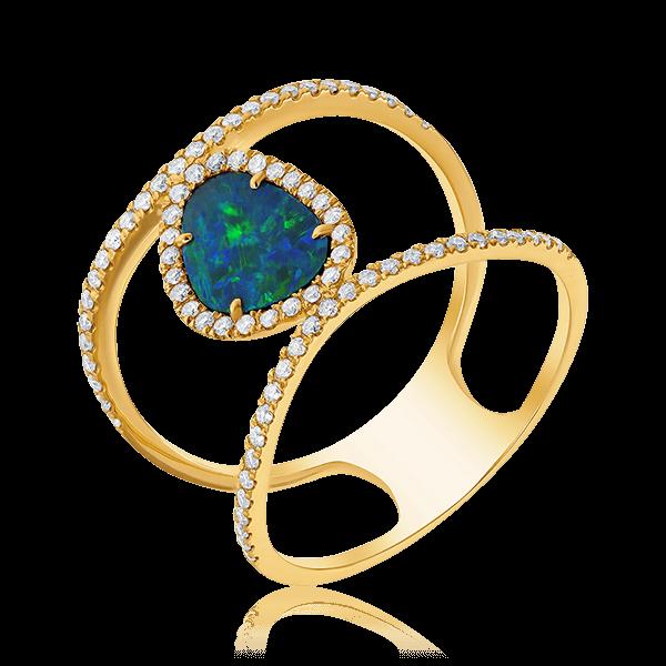 Купить Кольцо с бриллиантами, опалом из желтого золота 585 пробы