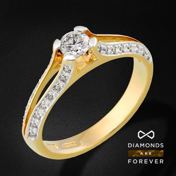 Кольцо для помолвки с бриллиантами в желтом золоте 585 пробыЮвелирные украшения<br>Кольцо для помолвки с бриллиантами в желтом золоте 585 пробы. Характеристики вставок: 1 бриллиант 0.24 5/5А, 32 бриллианта 0.125 5/5А. Средний вес: 2.8 гр.<br>