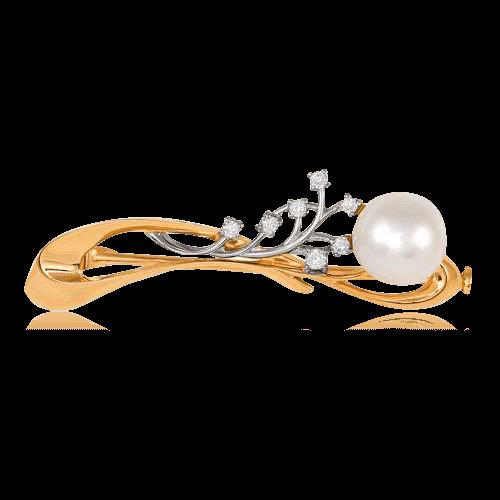 Купить Брошь с бриллиантами, жемчугом из комбинированного золота 585 пробы