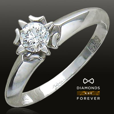 Помолвочное кольцо с бриллиантом из белого золота 585 пробыЮвелирные украшения<br>Кольцо с бриллиантами из белого золота 585 пробы. Характеристики вставок: бриллиант 2/5 1шт.,0.22ct. Средний вес изделия: 2,05 гр.<br>