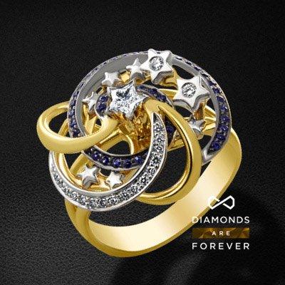 Кольцо с сапфиром, бриллиантами из желтого золота 750 пробыКольца с цветными камнями<br>Кольцо с сапфиром, бриллиантами из желтого золота 750 пробы. Характеристики вставок: 1 бриллиант звезда-73 0,15; 19 бриллиант кр57 0,132; 48 сапфир природный 0,35. Средний вес изделия: 9.44 гр.<br>