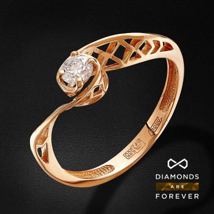Кольцо с бриллиантами из красного золота 585 пробыКольца<br>Кольцо с бриллиантами из красного золота 585 пробы. Характеристики вставок: 1 бриллиант кр 57 3/5а 0.23ct.. Средний вес изделия: 1.75 гр.<br>
