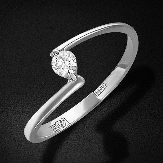 Кольцо с бриллиантами из белого золота 585 пробыЮвелирные украшения<br>Кольцо с бриллиантами из белого золота 585 пробы. Характеристики вставок: бриллиант кр-57 4/5 1шт.,0.1ct. Средний вес изделия: 1,09 гр.<br>