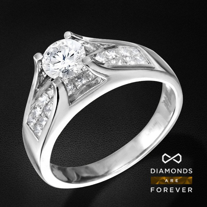 Помолвочное кольцо с бриллиантами из белого золота 585 пробыКольца<br>Помолвочное кольцо с бриллиантами из белого золота 585 пробы. Характеристики вставок: 22Бр Принц. 0.66 3/5 А, 1Бр Кр-57 0.50 4/5 А. Средний вес: 4,61 гр.<br>