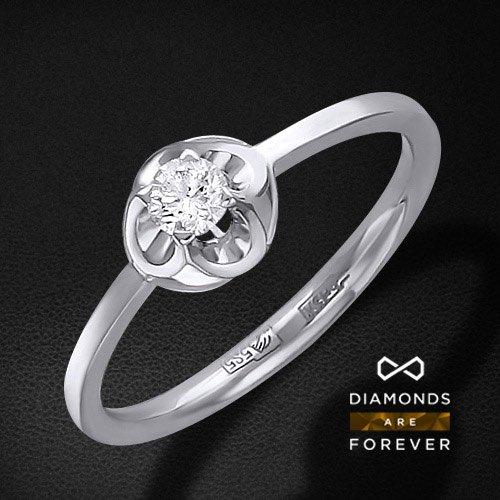 Кольцо с 1 бриллиантом из белого золота 585 пробыКольца<br>Кольцо с 1 бриллиантом из белого золота 585 пробы. Характеристики вставок: бриллиант кр-57 3/5 1шт.,0.16ct. Средний вес изделия: 1.8 гр.<br>