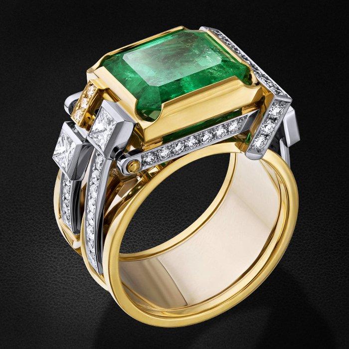 Кольцо с бриллиантами, изумрудом из комбинированного золота 750 пробыКольца<br>Кольцо с бриллиантами, изумрудом из комбинированного золота 750 пробы. Характеристики вставок: 13 бриллиант кр57 - 0,24 3/4а, 46 бриллиант кр57 - 0,64 3/4а, 3 бриллиант принцесса - 0,58 3/4а, 1 изумруд - 6,87. Средний вес изделия: 16.14 гр.<br>