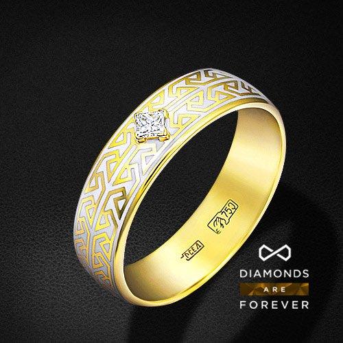 Кольцо с бриллиантами, эмалью из желтого золота 750 пробыПерстни<br>Мужское кольцо с бриллиантами, эмалью из желтого золота 750 пробы. Характеристики вставок: 1 бриллиант п65 0,115; эмаль. Средний вес изделия: 6.68 гр.<br>