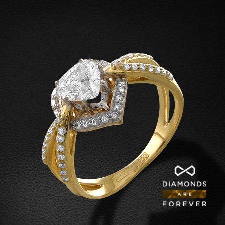 Кольцо с бриллиантами из желтого золота 750 пробыКольца с бриллиантами<br>Кольцо с бриллиантами из желтого золота 750 пробы. Характеристики вставок: 1 бриллиант сердце 57 0.72; 48 бриллиант кр57 0.27. Средний вес изделия: 4.86 гр.<br>