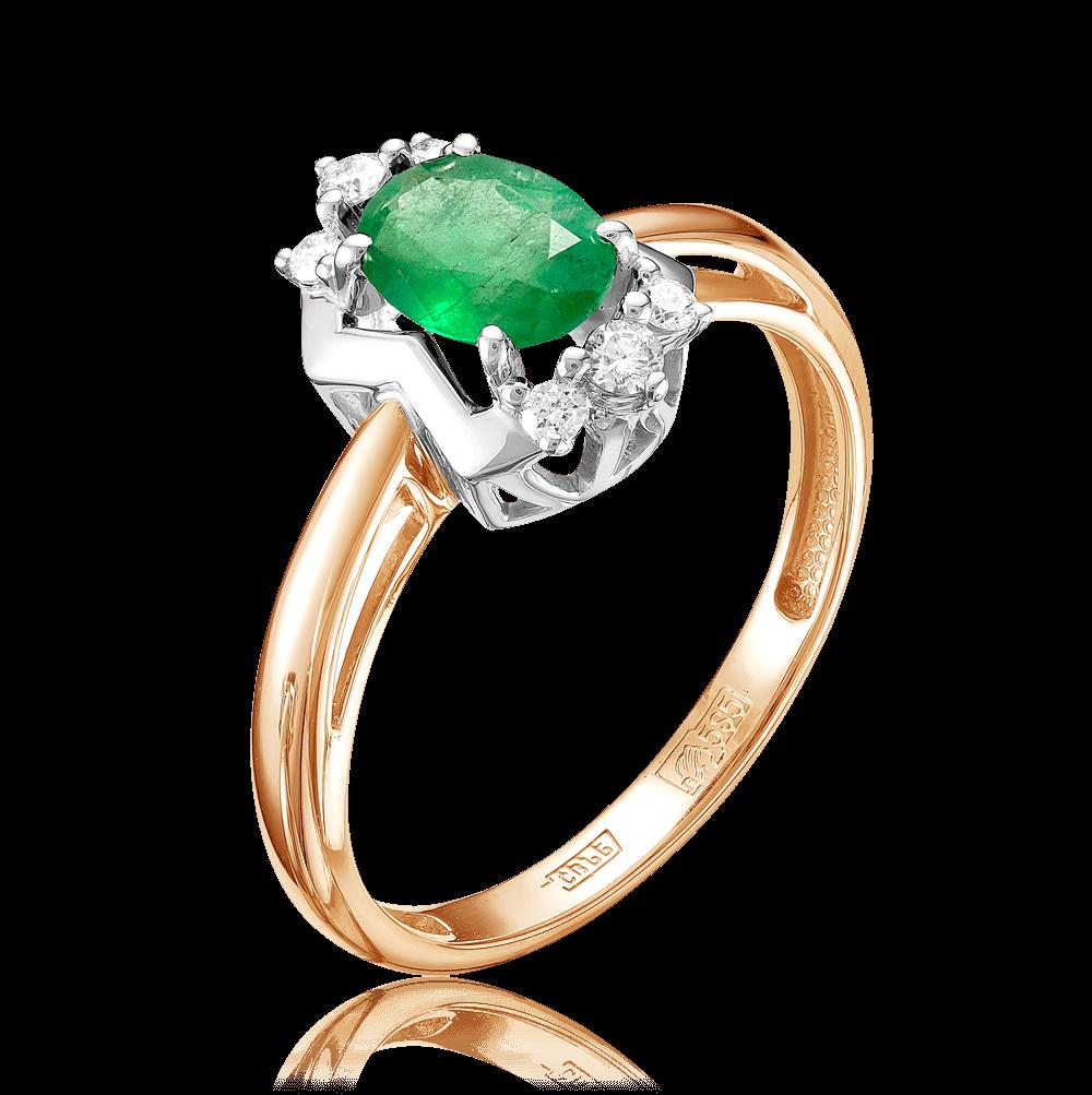 30ff8c3297c4 Кольцо с изумрудами, бриллиантами из комбинированного золота 585 пробы (арт.  49235)