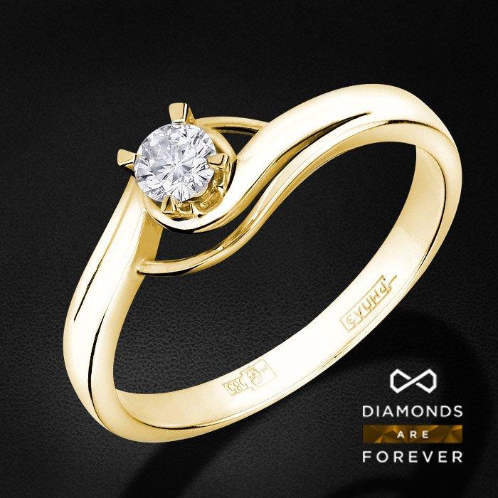 Кольцо с 1 бриллиантом из желтого золота 585 пробыКольца с бриллиантами<br>Кольцо с 1 бриллиантом из желтого золота 585 пробы. Характеристики вставок: 1 бриллиант кр57 0.14 3/5 а. Средний вес изделия: 2.26 гр.<br>