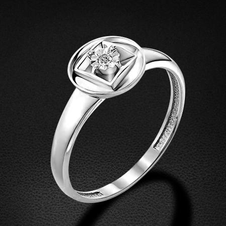 Кольцо с бриллиантами из белого золота 585 пробыКольца<br>Кольцо с бриллиантами из белого золота 585 пробы. Характеристики вставок: бриллиант 1 0.015 4/5 кр57. Средний вес изделия: 1,92 гр.<br>