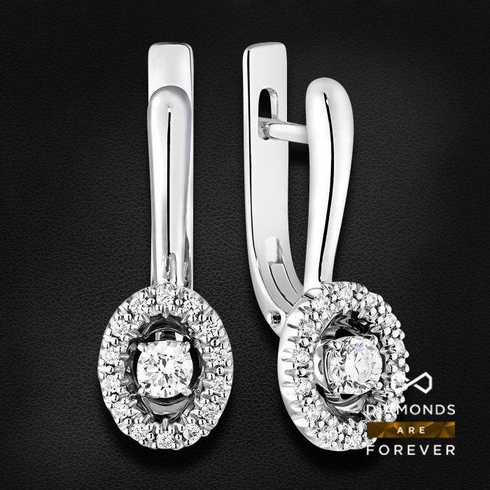 Серьги с бриллиантами из белого золота 585 пробыСерьги<br>Серьги с бриллиантами из белого золота 585 пробы. Характеристики вставок: 30 бриллиант 0.305 ct. Средний вес изделия: 4.62 гр.<br>