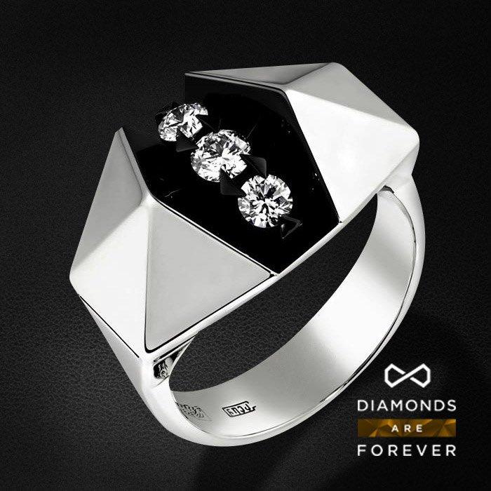 Кольцо с бриллиантами в белом золотеКольца с бриллиантами<br>Кольцо с бриллиантами в белом золоте 585 пробы. Характеристики: 3 бриллиант 0.37. Средний вес: 9.09 гр.<br>