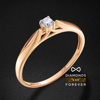 Кольцо с бриллиантами из красного золота 585 пробыКольца<br>Кольцо с бриллиантами из красного золота 585 пробы. Характеристики вставок: 1 бриллиант кр 57 10-7 4/5а 2.90-3.00 0.107ct.. Средний вес изделия: 1.66 гр.<br>