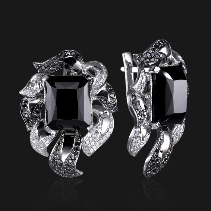 Купить Серьги с морионом, белыми и черными бриллиантами из белого золота 585 пробы